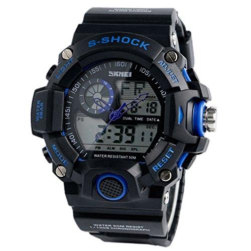 conabays Analog Digital 50 m Dive Schwarz Big Face Chronograph Military Sport Multifunktions Elektronische Schwimmen Armbanduhren fuer Jungen