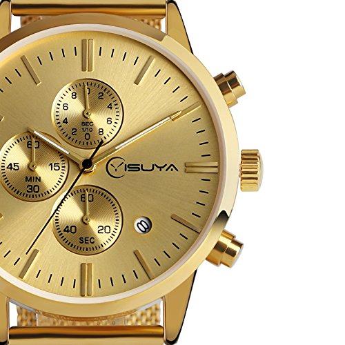 yisuya Gold Herren Casual Business Uhren mit Edelstahl Mesh Armband DATUM CHRONOGRAPH Quarz Outdoor Sport Stoppuhr