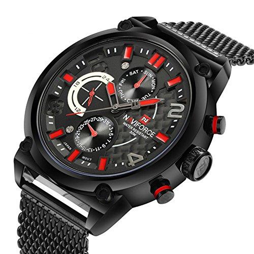 Conbays Taschenuhr Herren Full Armee Militaer Schwarz Rot Uhren Casual Sport Datum Datum 24 Stunden Display Quarz Armbanduhr mit Mesh Edelstahl Armband