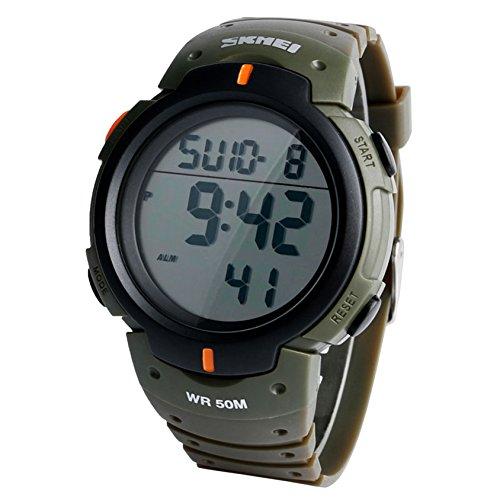 Conbays Taschenuhr Outdoor Herren Sport Digital Armbanduhr Armee gruen Chronograph Wasser Widerstand sportwatches Silikon Armband fuer Jungen