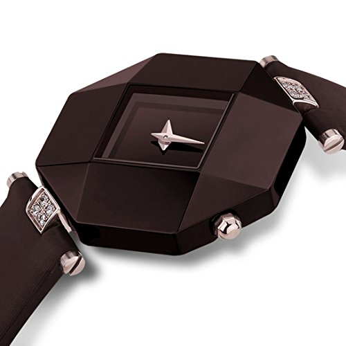Conbays Taschenuhr Elegante Damen Ultra Duenn Braun Saphir Spiegel Keramik Octagon Fall Business Kleid Armbanduhr mit Armband aus echtem Leder Schmuck Uhren fuer Party