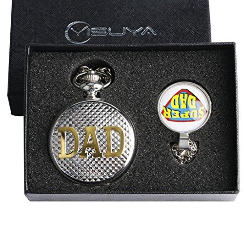 Conbays Taschenuhr Geschenk Set fuer Vater Silber Dad Thema roemischen Zahl Zifferblatt Quarz Taschenuhr mit super dad Glaskuppel Anhaenger Halskette