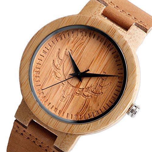 Conbays Taschenuhr Herren s Handarbeit einzigartige Elk Dollar Design Holz Uhren Fashion Licht Bambus Quarz Armbanduhr mit echtem Leder braun Armband