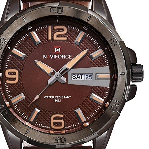 Conbays Taschenuhr Man s Army Outdoor Woche Tag Datum Display Handgelenk Uhren Fashion Casual Wasserdicht Braun Leder Armband