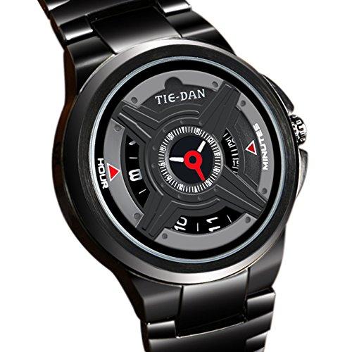 Conbays Taschenuhr Herren Schwarz Military Uhren Creative Sekundenzeiger Zifferblatt Design Cool Sport Armee Edelstahl wasserdicht