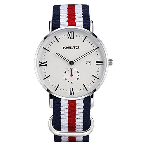 yisuya Herren Die klassische Casual Quarz Uhren mit weissem Zifferblatt Analog Anzeige und Flagge Design Nylon Strap