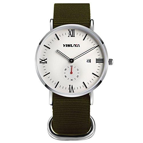 yisuya klassischen Herren Casual Quarz Uhren mit weissem Zifferblatt Analog Anzeige und Armee Gruen Nylon Gurt