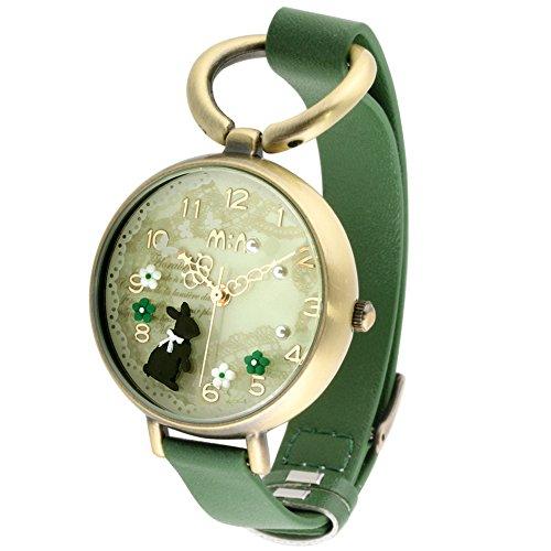 foxqueena 068 3D Polymer Clay Forest Kaninchen Pattern Maedchen Lady Handgelenk Uhren Gruen