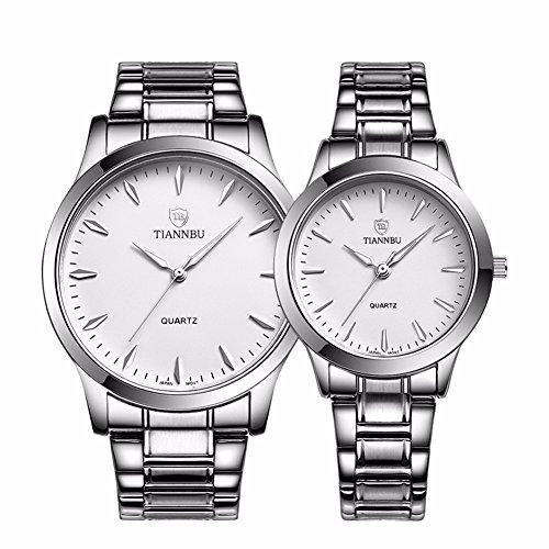 foxqueena 240 Titan Stahl Band Simple Fashion Design Paar Paare Handgelenk Uhren Weiss Set von 2