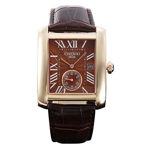 fq 243 braun Face PU Lederband Classic Design Qualitaet Mann maennlich Quarz Handgelenk Uhren