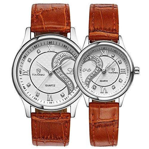 tiannbu fq 102 Ultrathin Leder Romantische braun Fashion Handgelenk Uhren fuer Paar Paar Herren Frauen Set von 2