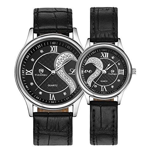 tiannbu fq 102 Ultrathin Leder Romantische schwarz Fashion Handgelenk Uhren fuer Paar Paar Herren Frauen Set von 2