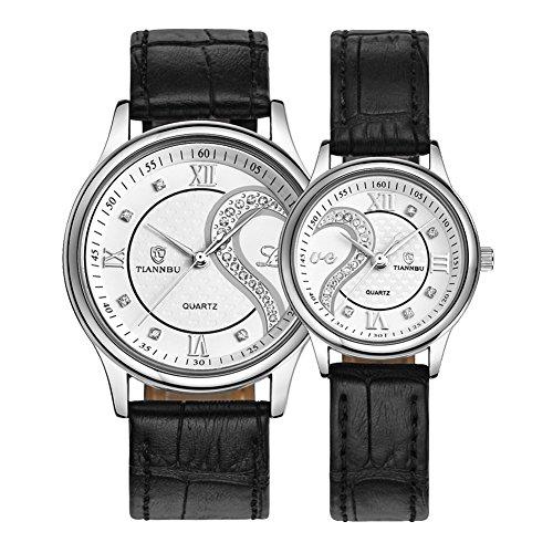 tiannbu fq 102 Ultrathin Leder Romantisches weisses Paar Fashion Handgelenk Uhren fuer Paar Herren Frauen Set von 2