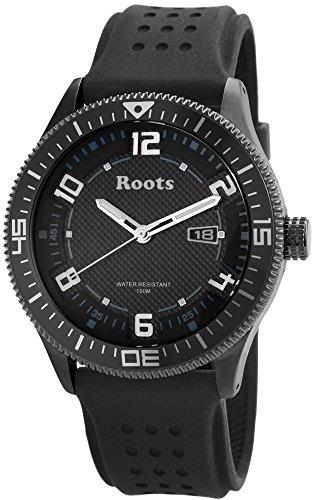 Roots Herren Analog Armbanduhr mit Quarzwerk R882LBLU und Hochwertiges Kautschukarmband in Schwarz mit Dornschliesse Ziffernblattfarbe schwarz Bandgesamtlaenge 23 cm Armbandbreite 24 mm