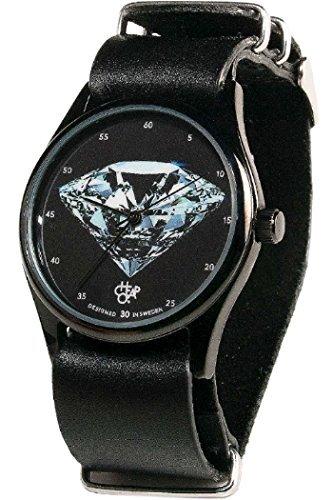 Cheapo 14227NN Herren Edelstahl Lederband Schwarz Zifferblatt Pop Diamant Uhr