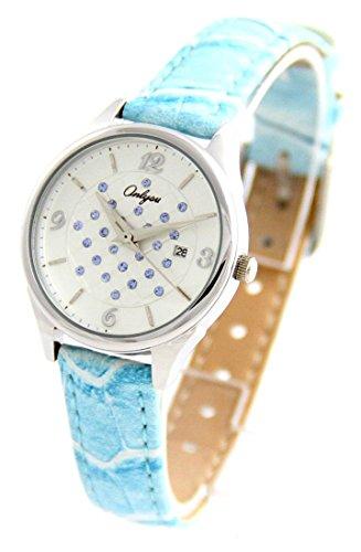 Damen Armbanduhr Leder blau mit Diamanten cz Onlyou 579