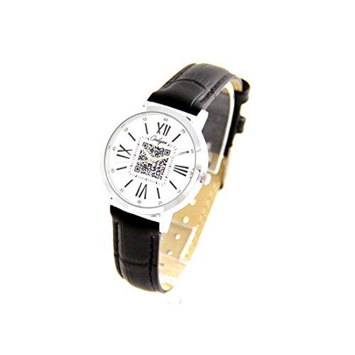 Damen Originelle Armbanduhr Leder schwarz Onlyou 1204
