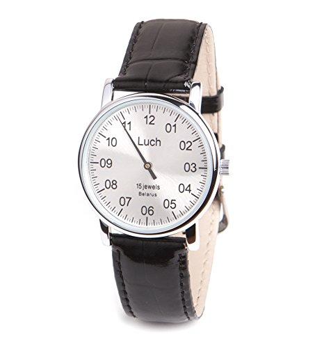 Single Hand Mittagessen Mechanische Armbanduhr Silber Zifferblatt Chrom 37471762