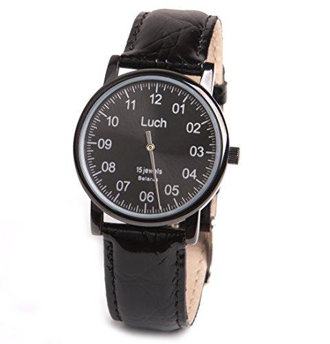 Single Hand Mittagessen Mechanische Armbanduhr Schwarz Zifferblatt Schwarz Besatz Spruehen 737479763