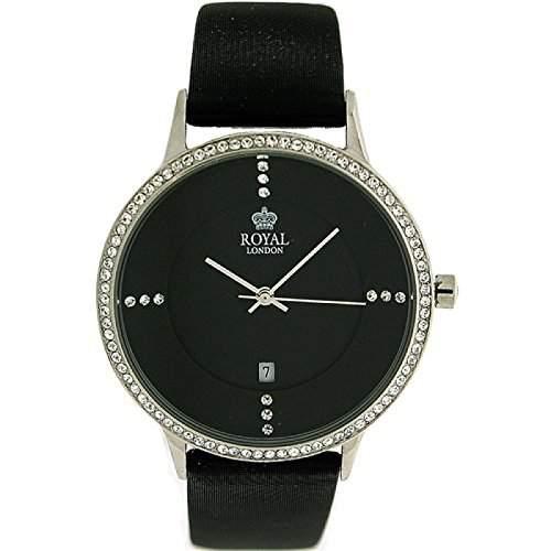 ROYAL LONDON Damen Armbanduhr mit Datumsfunktion, Cubic Zirkonia besetzter Luenette und schwarzem Satin-Lederarmband 20152-01