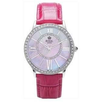 Royal London Damen MOP Uhr, goldene kristallb Luenette, rosa Lederarmb 21214-02