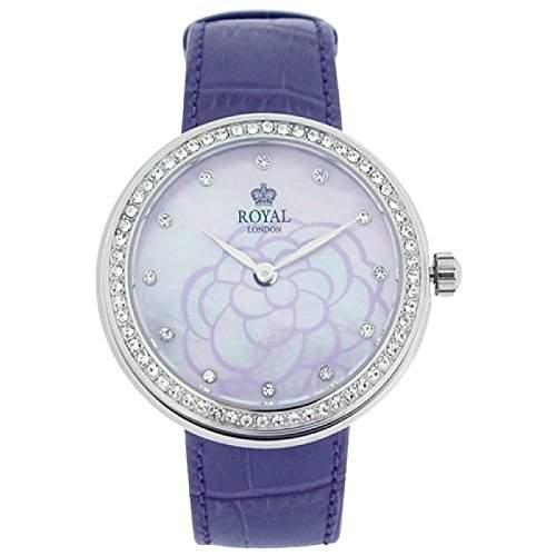 Royal London MOP Damenuhr, kristallb Blume, violettes Lederarmband 21215-03