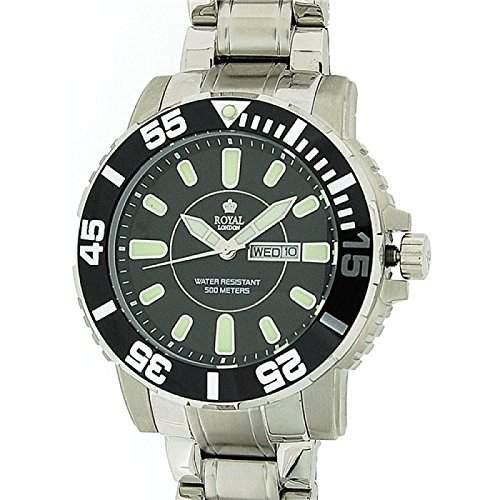 ROYAL LONDON Herren Taucher-Armbanduhr aus Edelstahl mit Tages- und Datumsanzeige, wasserfest 40148-4