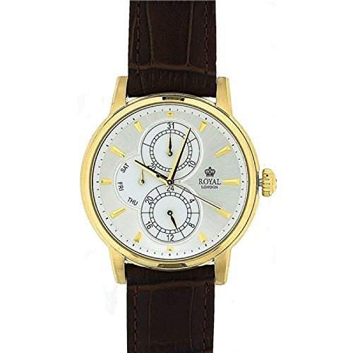 ROYAL LONDON Analoge Herren Armbanduhr mit silberfarbenem Ziffernblatt, Nebenskalen und braunem Lederarmband 41040-03