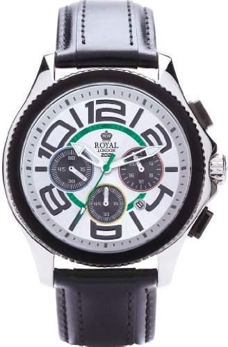 Royal London Mens-Quarz-Uhr mit weissem Zifferblatt Chronograph Anzeige und schwarzem Lederarmband 41112-01
