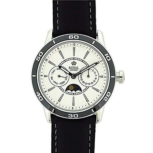 ROYAL LONDON Herrenarmbanduhr mit 24Std Sonnen- und Mondphasen-Anzeige und Lederarmband 41124-02