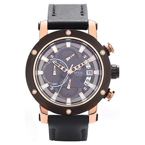 Royal London Gents Herren-Armbanduhr Chronograph roségold-braun analog 41155-03