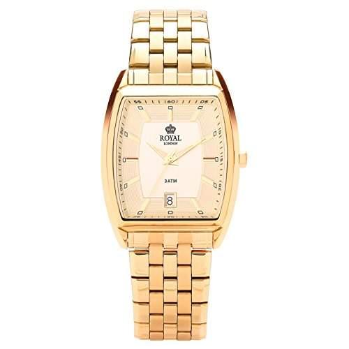 Royal London Herrenuhr Gents Classic Datumsanzeige Edelstahl gold analog Quarz 41186-03