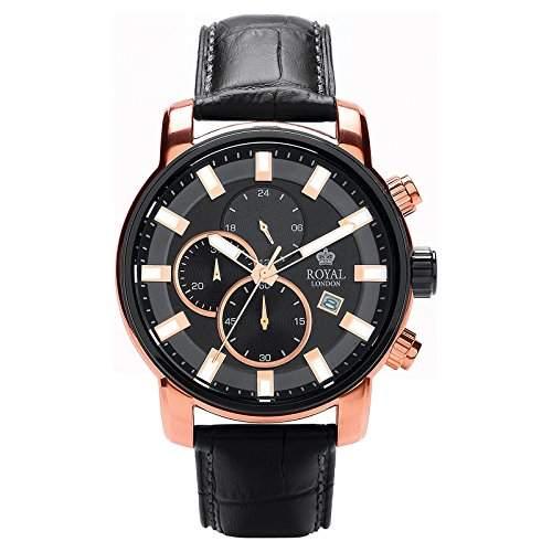 Royal London Gents Chronograph Herrenuhr Edelstahl analog schwarz 41235-05