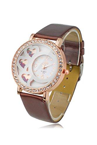 Armbanduhr Dfa Frauen Rundes Zifferblatt Analoge Uhr mit Kristallen Perlen Dekoration braun