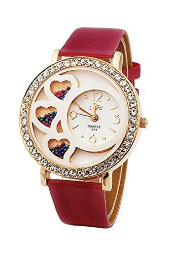 Armbanduhr Dfa Frauen Rundes Zifferblatt Analoge Uhr mit Kristallen Perlen Dekoration rot