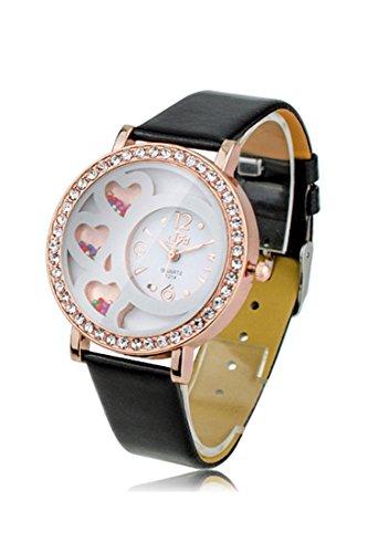 Armbanduhr Dfa Frauen Rundes Zifferblatt Analoge Uhr mit Kristallen Perlen Dekoration Schwarz