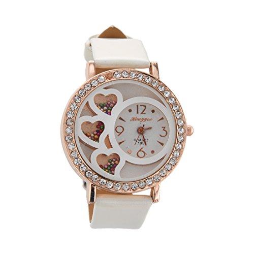 Armbanduhr Dfa Frauen Rundes Zifferblatt Analoge Uhr mit Kristallen Perlen Dekoration weiss