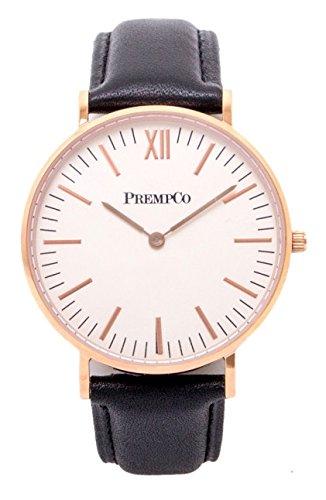 PrempCo Nobel Damen Armbanduhr Elfenbeinweiss Rosegold Schnell wechsel Uhren Armband in Schwarz
