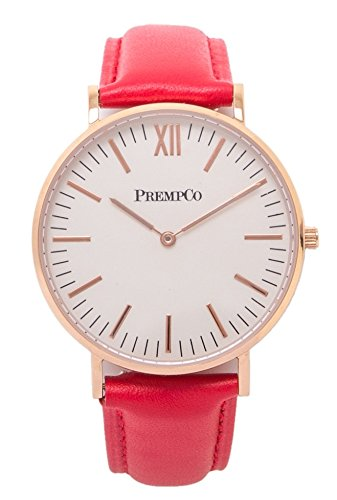 PrempCo Nobel Damen Armbanduhr Elfenbeinweiss Rosegold Schnell wechsel Uhren Armband in Rot