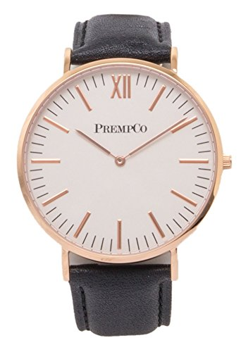 PrempCo Nobel Herren Armbanduhr Elfenbeinweiss Rosegold Schnell wechsel Uhren Armband in Schwarz