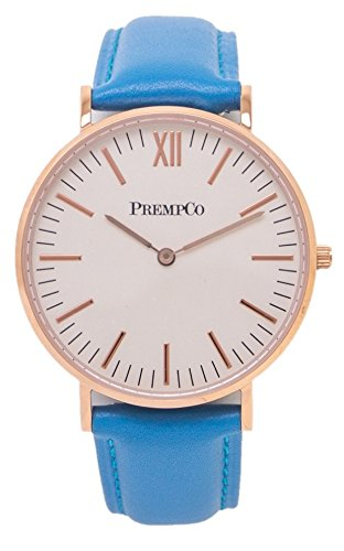PrempCo Nobel Damen Armbanduhr Elfenbeinweiss Rosegold Schnell wechsel Uhren Armband in Blau