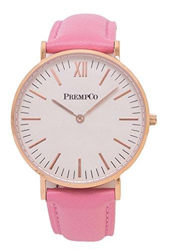 PrempCo Nobel Damen Armbanduhr Elfenbeinweiss Rosegold Schnell wechsel Uhren Armband in Pink
