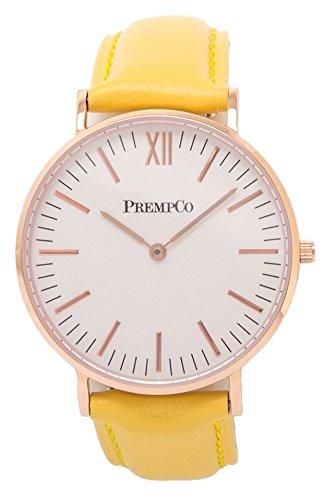 PrempCo Nobel Damen Armbanduhr Elfenbeinweiss Rosegold Schnell wechsel Uhren Armband in Gelb