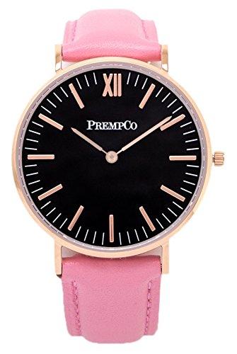 PrempCo Nobel Damen Armbanduhr Schwarz Rosegold Schnell wechsel Uhren Armband in Pink