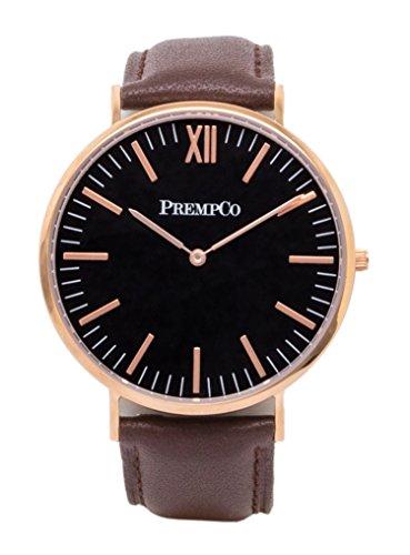 PrempCo Nobel Herren Armbanduhr Schwarz Rosegold Schnell wechsel Uhren Armband in Braun