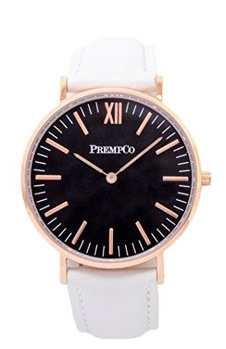 PrempCo Nobel Damen Armbanduhr Schwarz Rosegold Schnell wechsel Uhren Armband in Weiss