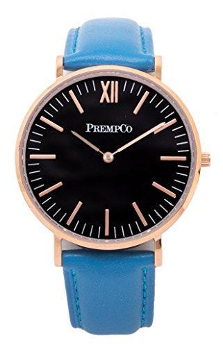 PrempCo Nobel Damen Armbanduhr Schwarz Rosegold Schnell wechsel Uhren Armband in Blau