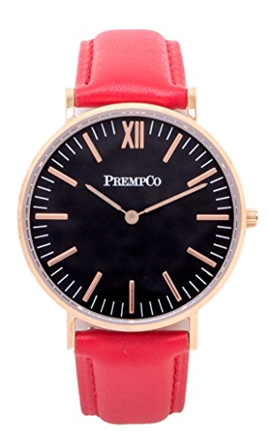 PrempCo Nobel Damen Armbanduhr Schwarz Rosegold Schnell wechsel Uhren Armband in Rot
