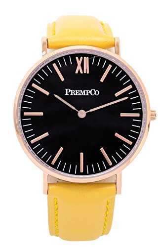 PrempCo Nobel Damen Armbanduhr Schwarz Rosegold Schnell wechsel Uhren Armband in Gelb