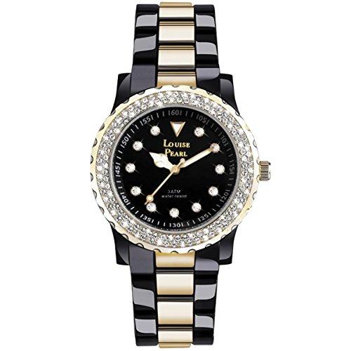 Louise Pearl 5 schwarz mit 131 Swarovski Kristallen goldfarben
